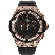 Hublot Big Bang Re Cronografo Asia Valjoux 7750 Movimento Diamante Cassa In Oro Rosa E Lunetta Con Black Dial-Cinturino