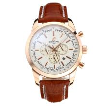 Cassa In Oro Breitling Automatic Rose Con White Strap Dial-Leather