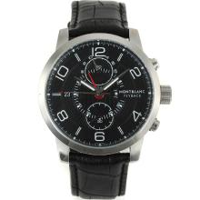 Montblanc Flyback Automatico Con Cinturino Dial-Leather