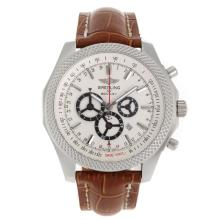 Cronografo Breitling For Bentley Lavorare Con White Strap Dial-Leather