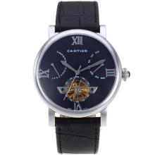 Cartier Calibre De Cartier Tourbillon Automatico Con Quadrante Nero-18K Placcato Oro Movimento