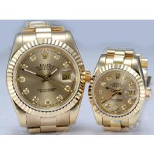 Rolex Datejust In Oro Automatico Completo Con Diamante Marcatura-Golden Quadrante Coppia