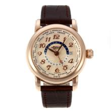 Cassa In Oro Montblanc Star Working GMT Automatic Rose Con Champagne Dial-Cinturino In Pelle