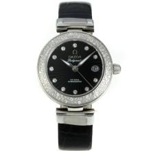 Omega Ladymatic Diamond Bezel Con Black Dial-Cinturino In Pelle
