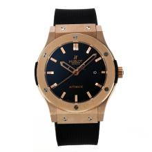Gold Case Hublot Classic Fusion Vendome Automatic Rose Con Black Dial-Cinturino In Gomma