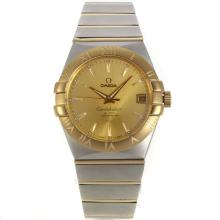 Omega Constellation Movimento Svizzero Eta 2836 Two Tone Marcatori Stick Con Golden Dial-vetro Zaffiro