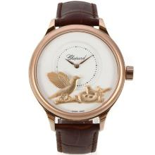 Cassa In Oro Chopard LUC Collection Automatic Rose Con White Strap Dial-Leather