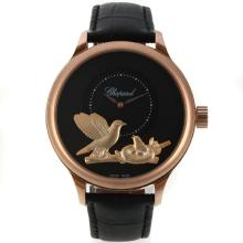 Cassa In Oro Chopard LUC Collection Automatic Rose Con Black Strap Dial-Leather