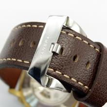 Panerai Luminor Submersile Caso Automatico Oro Con Quadrante Bianco-Leather Strap