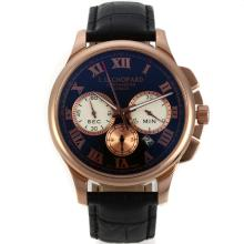 Cassa In Oro Chopard LUC Flyback Automatico Rose Con Cinturino Dial-Leather