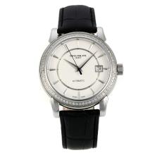 Patek Philippe Calatrava Svizzero ETA 2824 Movimento Diamond Bezel Con White Strap Dial-Leather