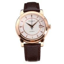 Patek Philippe Calatrava Svizzero ETA 2824 Movimento Cassa In Oro Rosa Con Quadrante Bianco-Leather Strap