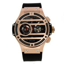 Hublot Big Bang Chronograph Working Re Cassa In Oro Rosa Con Quadrante Nero Cinturino In Gomma-