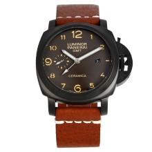 Panerai Luminor GMT Automatico Cassa PVD Con Brown Dial-cinturino In Pelle Marrone