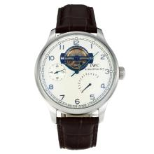 IWC Portugueses Automantic Lavorare Power Reserve Con White Strap Dial-Leather