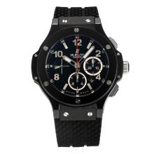 Hublot Big Bang Re Cronografo Asia Valjoux 7750 Movimento Cassa In Ceramica Con Black Dial-Cinturino In Gomma
