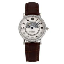 Cartier Rotonde Diamond Bezel Con Beige Dial-Brow Leather Strap-Vetro Zaffiro