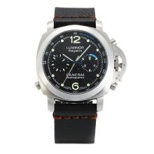 Panerai Luminor Regatta Automatic Con Quadrante Nero, Cinturino In Pelle Nera