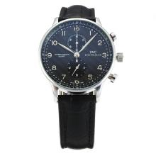 IWC Regulateur Chronograph Lavorare Con Black Strap Dial-Leather