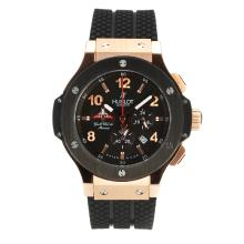 Hublot Big Bang Tuiga 1909 Chronograph Working Cassa In Oro Rosa Con Quadrante Nero Cinturino In Gomma-