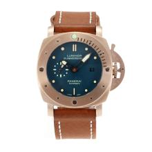 Cassa In Oro Panerai Luminor Sommergibile Automatico Rose Con Blue Dial-cinturino In Pelle Marrone