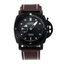 Panerai Luminor Submersible Caso Automatic PVD Con Quadrante Nero, Cinturino In Pelle Marrone