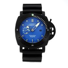 Panerai Luminor Submersible GMT Automatic PVD Completa Con Blue Dial-cinturino In Caucciù Nero