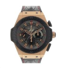 Hublot King Power Chronograph Working Cassa In Oro Rosa PVD Lunetta Con Quadrante Nero-Rubber Strap-Edizione Limitata