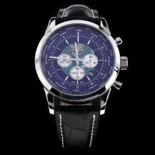 Breitling Transocean Chronograph Working Unitime Con Blue Dial-cinturino In Pelle Nera