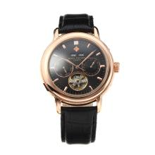 Cassa In Oro Patek Philippe Grande Complication Automatic Rose Con Quadrante Nero, Cinturino In Pelle Nera