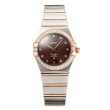 Omega Constellation Two Tone Diamond Bezel Con Caffè Dial-vetro Zaffiro