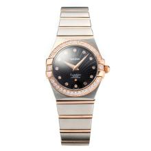 Omega Constellation Two Tone Diamond Bezel Con Quadrante Nero, Vetro Zaffiro
