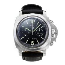 Panerai Luminor Flyback 1950 Chronograph Asia Valjoux 7750 Movimento Con Quadrante Nero Cinturino In Pelle