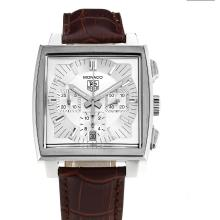 Tag Heuer Monaco Calibre 17 Chronograph Lavorare Con White Strap Dial-Leather