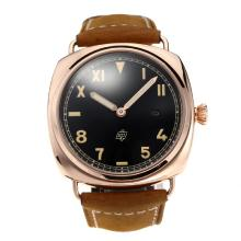 Gold Case Panerai Classic Automatic Rose Con Cinturino Dial-Leather