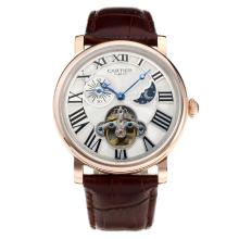 Cassa In Oro Cartier Classic Automatic Rose Con White Strap Dial-Leather