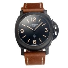 Panerai Luminor Unitas 6497 Movimento PVD Case Con Quadrante Nero Cinturino In Pelle