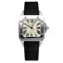 Cartier Santos Dumont Square Automatico Con White Strap Dial-Leather