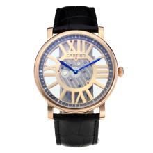 Cartier Classic Cassa In Oro Rosa Con Cinturino Hollow Champagne Dial-Leather
