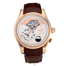 Cassa In Oro Montblanc Tourbillon Di Lavoro Power Reserve Automatic Rose Con White Strap Dial-Leather