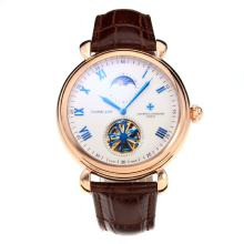 Cassa In Oro Vacheron Constantin Tourbillon Automatico Rose Con White Strap Dial-Leather
