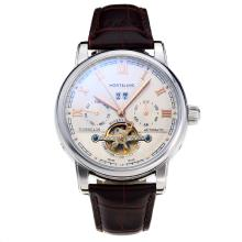Montblanc Tourbillon Automatico Con Quadrante Bianco-Leather Strap