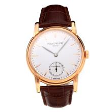 Patek Philippe Grande Complication Carica Manuale Cassa In Oro Rosa Con Quadrante Bianco-Leather Strap