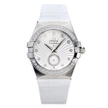 Omega Constellation Diamond Bezel Con White Strap Dial-Leather