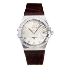 Omega Constellation Automatic Con White Strap Dial-Leather