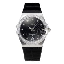 Omega Constellation Automatic Diamond Bezel Con Black Strap Dial-Leather