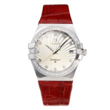 Omega Constellation Automatic Diamond Bezel Con White Strap Dial-Leather