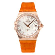 Omega Constellation Automatic Diamond Bezel Cassa In Oro Rosa Con Quadrante Bianco-Leather Strap