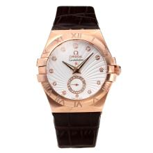 Omega Constellation Cassa In Oro Rosa Con Quadrante Bianco-Leather Strap