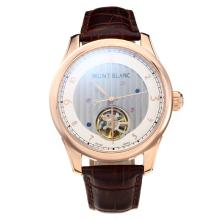 Cassa In Oro Montblanc Automatico Tourbillon Rose Con White Strap Dial-Leather